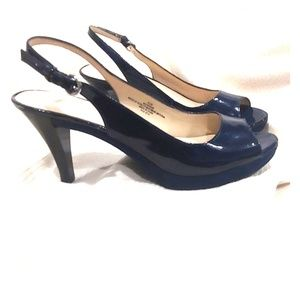 Nine West ♦️ Blue Patent Slingback Heels - SZ 8.5